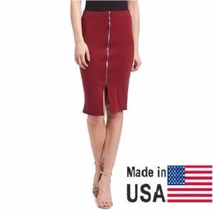 Women Elegant Zipper Skirt, SK-401, Wine